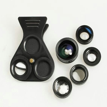 Five in one Mobile Phone Photo Lens External Camera with Wide angle Macro Fisheye Increased Range Polarization 5 in 1