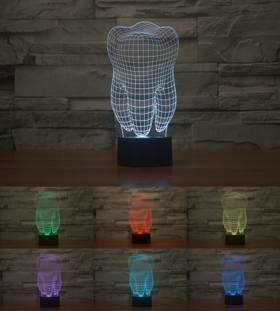 teeth Creative 3D Tooth Night Light Acrylic Colorful Gradient LED Desk Table Lamp Nightlight Ambient Light