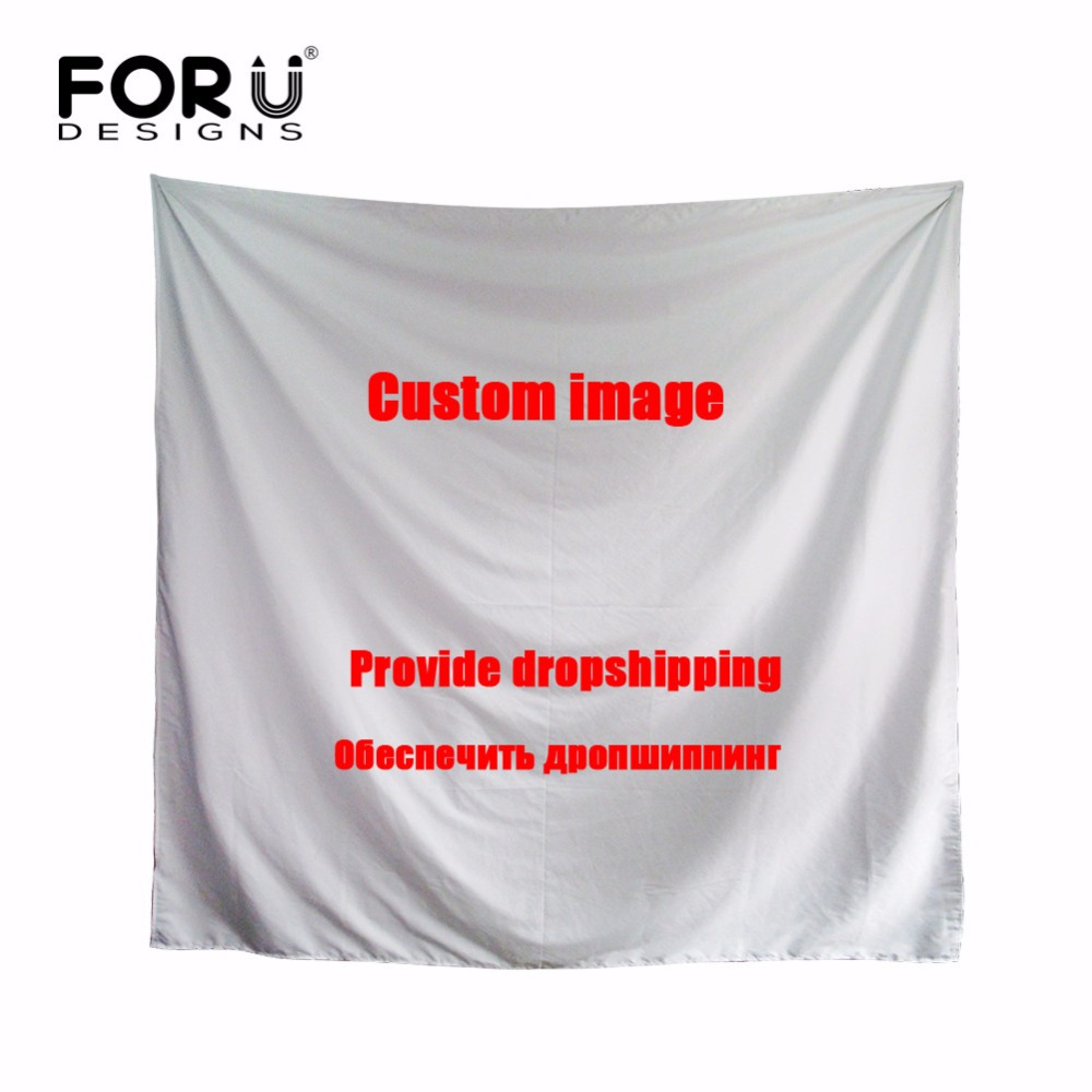 FORUDESIGNS Brand Silk Scarf Women Custom Images Or Logos Square Scarves Large Foulard Femme Polyeste Kerchief Drop Shipping