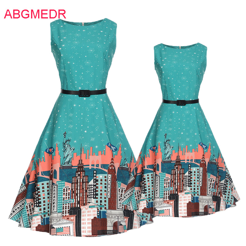 2017 Autumn European and American Retro Print dress Mother Daughter Dresses Teenagers Cl ...
