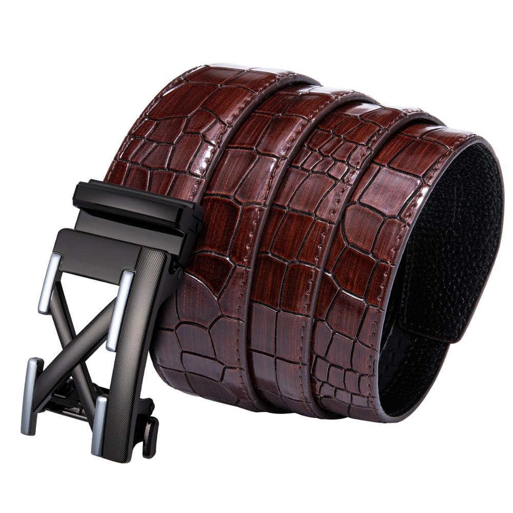 Crocodile Belt For Men Leather Belt Letter Buckle Automatic Sliding Belt Changable Waist Strap Designer For Jeans Barry.Wang