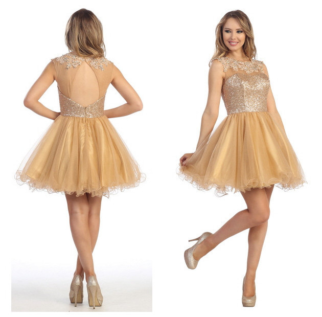 Keyhole Back Sequin Top Homecoming Dress For Teens Short 8th Grade ...