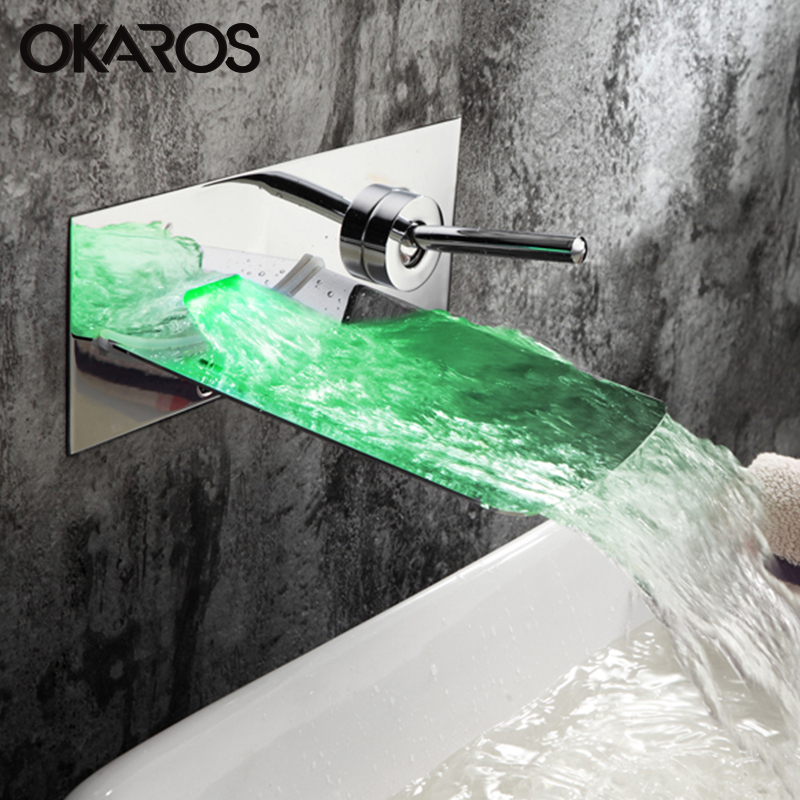 OKAROS Bathroom Basin LED Green Red Blue Changes Faucet Stainless Steel Chrome Finished Waterfall Water Tap Mixer Grifo de la cu ключ гаечный комбинированный kraft кт 700551 8 17 мм