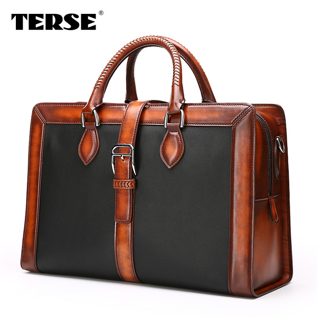 TERSE Handmade antique style big capacity men business travel bag custom leather  briefcase Italian design dropshipping ff2ae4b0c8315