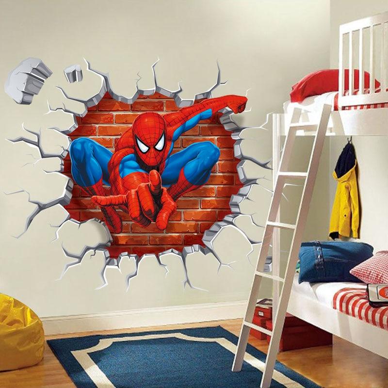 45x50 cm 3D de Spiderman Popular Película de Dibujos Animados Pegatinas de Pared