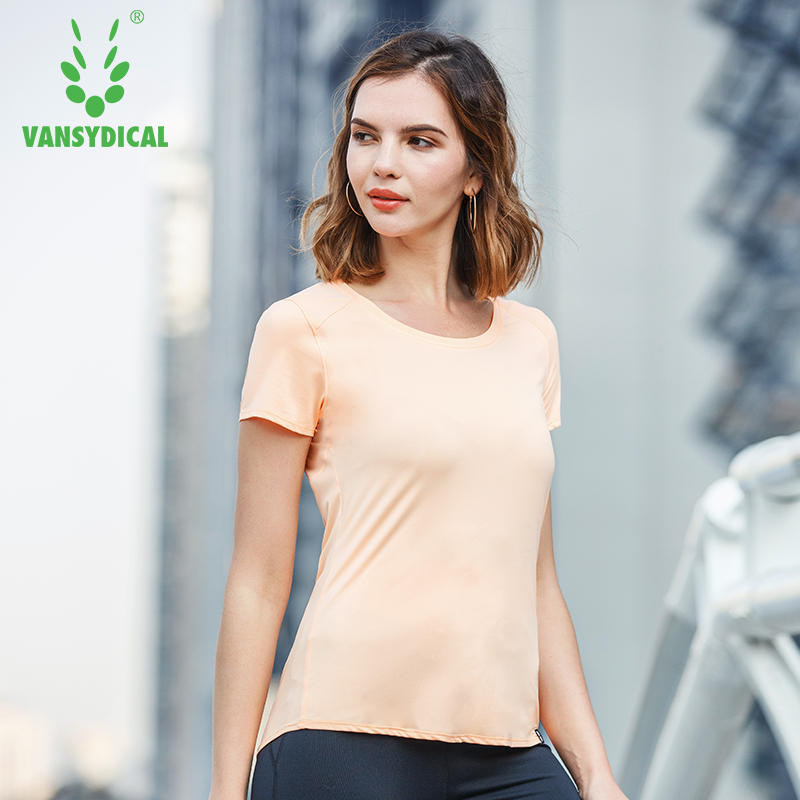 Vansydical Summer Sports T-shirts Womens Gym Yoga Shirts Short Sleeve Solid Color Quick Dry Outdoor Running Workout Tops Tee
