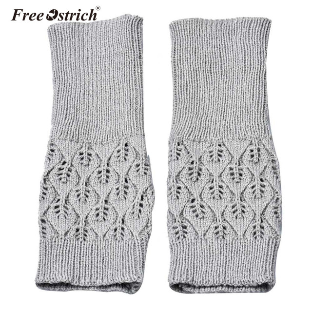 Free Ostrich Gloves Women Girl 2018 Warm Winter Brief Paragraph Knitting Half Fingerless Heart Shape Knitted Glove Dropshipping