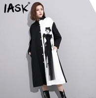 IASK 2017 Autumn New Personality Black White Color Spelling Printing Woman Lapel Long Sleeve Loose