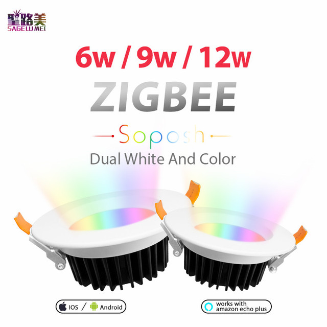 ZLL LED downlight ZIGBEE link light 6W 9W 12W AC100-240V rgb+cct WW/CW led LIGHT Lamp zigbee downlight APP work with Amazon Ecoh