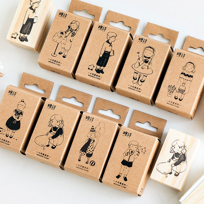 1 pcs Cute girl series wooden rubber stamp Kids DIY Handmade Scrapbook Photo Album, students Stamp Arts, Crafts gifts