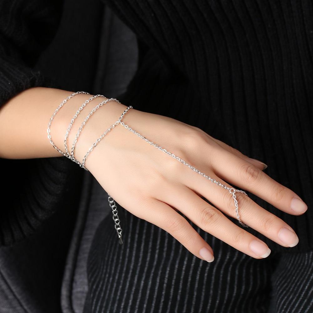 Gothic Stijl Slave Gold & Silver Plated Armbanden Bangle Lange Link Chain Hand Armband Voor Vrouwen Mode-sieraden Pulseras Bijoux Om Jarenlange Probleemloze Service Te Garanderen
