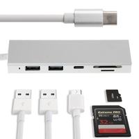 Type C To USB 3 0hub SDTF Card Reader 5in1 Type C To USB 3 0