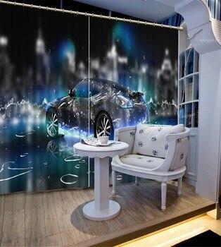 3D Curtain Home Room Decoration Fashion Waterdrop Car Curtain Motorized Decorative Door Curtain Custom All Sizes Beautiful Photo