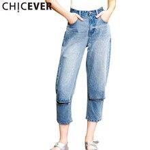 CHICEVER 2017 Summer Holes Calf Length Denim Pants Female Straight High Waist Jeans Trousers Korean Casual Fashion Clothes