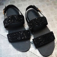 KAEVE 2017 Shinny Rhinestone Summer Men'S Flip Flops Flat Sandal Shoes For Men Beach Sandal Natural Leather Shoe Man Flip Flops