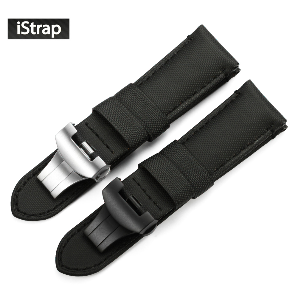 iStrap Black 24mm Kevlar+ Leather Strap 24mm Replacement Fabric Watch Band Belt For Panerai Watchband With Deployment Clasp цена и фото