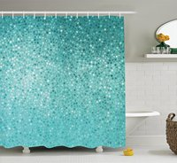 Turquoise Shower Curtain Set By Small Dot Mosaic Tiles Shape Simple Classical Creative Artful Fun Design