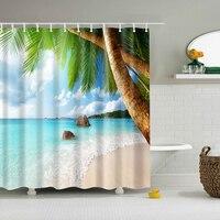Novo colorido eco-friendly praia conch starfish concha poliéster de alta qualidade lavável banho decoração cortinas chuveiro