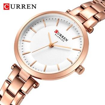 CURREN 9054 Quartz Watches Women Rose Gold Ladies Wrist Watch with Box