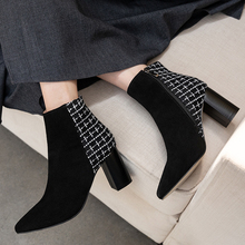 Ankle Boots for Women Leather Womens Zipper Winter 6.5cm