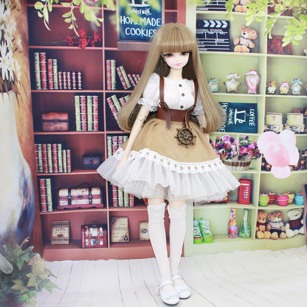 Fortune Days for 1/4 BJD Doll 45cm Highly brown fashion girl in four piece dress Set High Quality Blyth reborn girls Toy Gifts