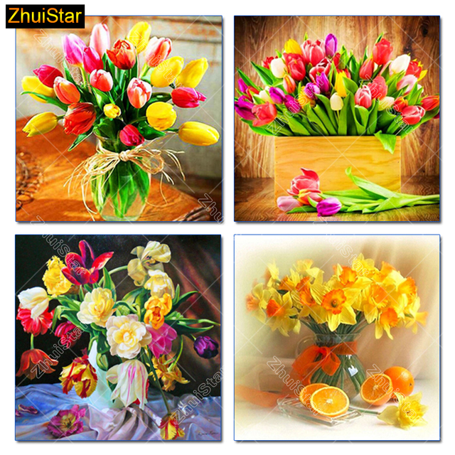 5d Diy Diamond Painting Cross Stitch Orchid Daffodil Vase Full