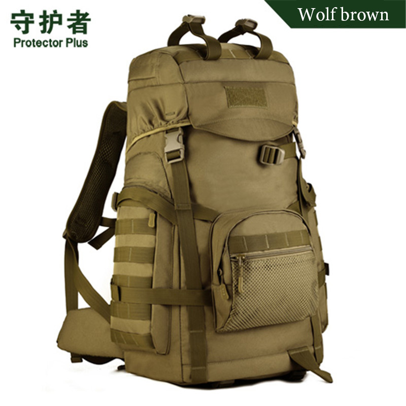ФОТО Men's bags 60 litres of large capacity backpack Military enthusiasts backpack Nylon waterproof high-quality travel bags  girl