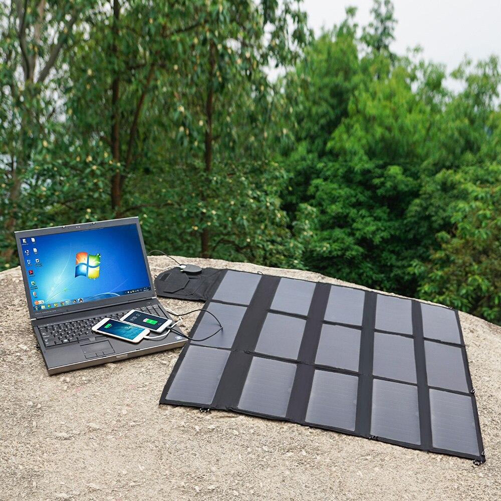 Al aire libre 100 W del cargador del Panel Solar portátil Cargador Solar para iPhone iPad Samsung LG Hp Dell batería de vehículo de 12 V ¡estación de energía!