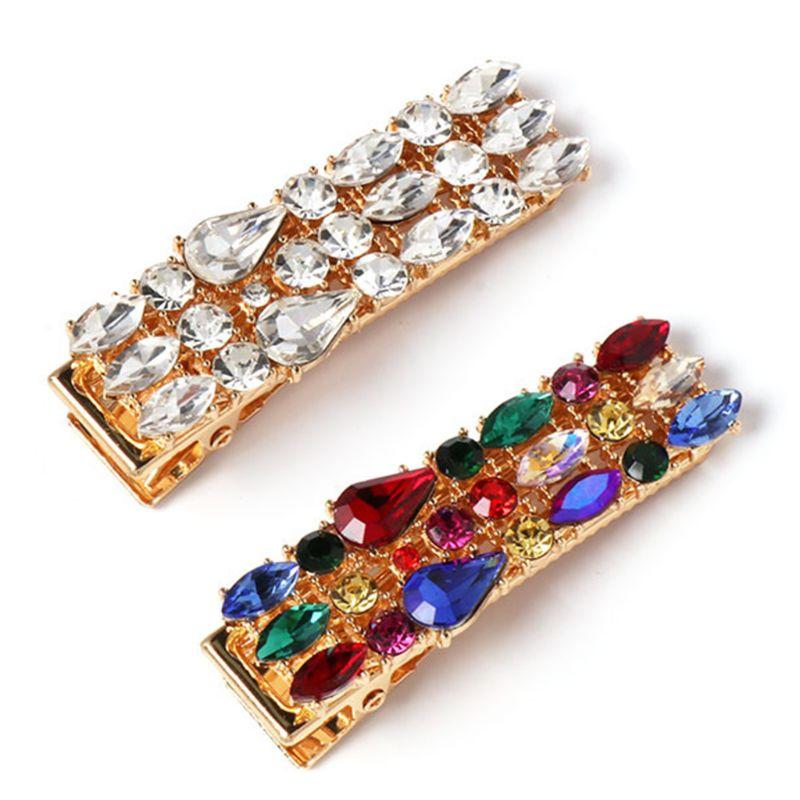 Vintage Palace Jewelry Rectangle Hair Clip Women Three Row Imitation Diamond Rhinestone Hairgrip Rainbow Colored Luxury Barrette