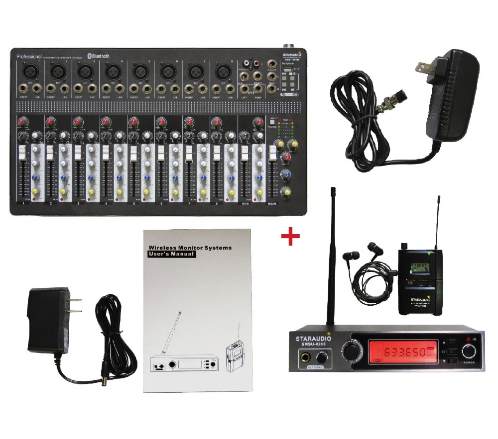 STARAUDIO Pro PA DJ Stage KTV Powered 10CH USB Bluetooth MP3 Mixer with Wireless Body-pack In-Ear Stereo Monitor Mic SMX-1000B staraudio pro 4 channel 2000w live studio dj stage amplifier powered mixer with mp3 bluetooth usb sd 16 dsp smx 4000b