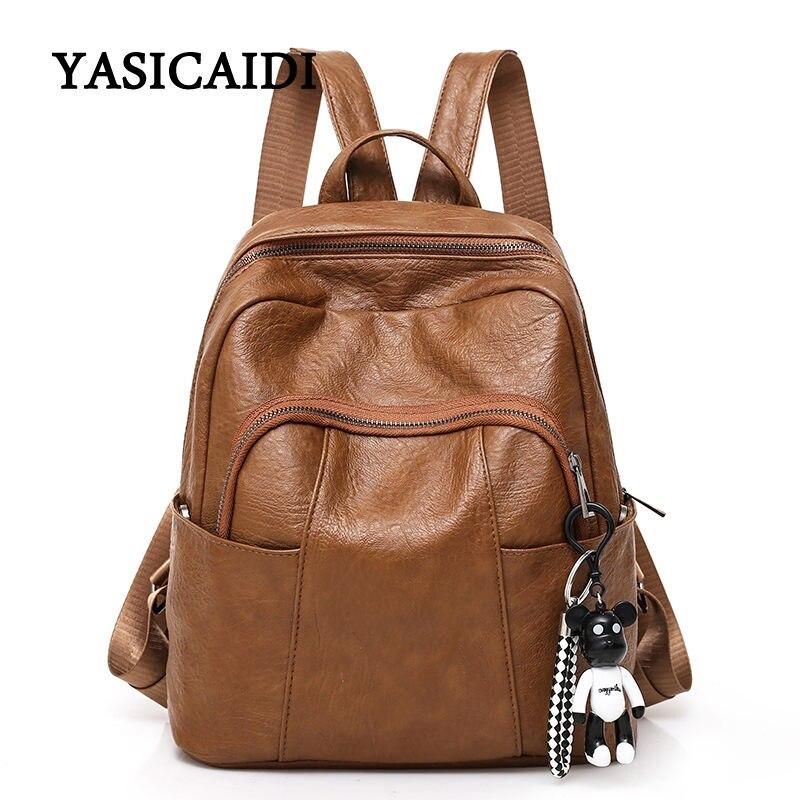 Waterproof Pu Leather Women Backpack Fashion Black Shoulder Back Bag Preppy Style Backpacks for Teenage Girls Schoolbags Female