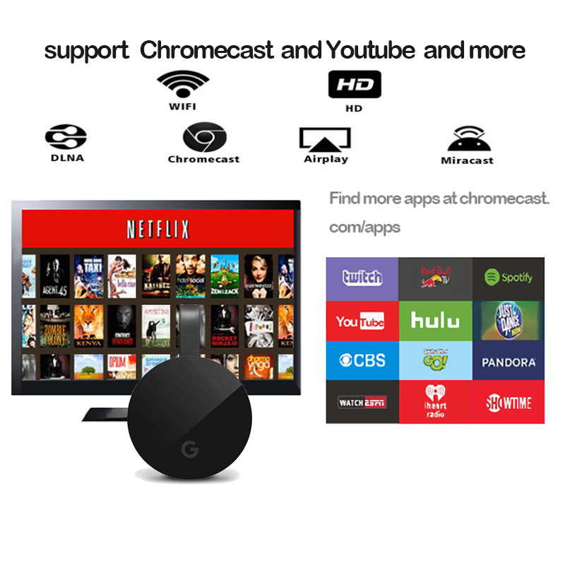 Hot yehua G5 2.4G WIFI HDMI dongle tv stick support chrome/miracast/aiplay/Dlna, android, pour iphone, ios8 ci-dessus, projecteur