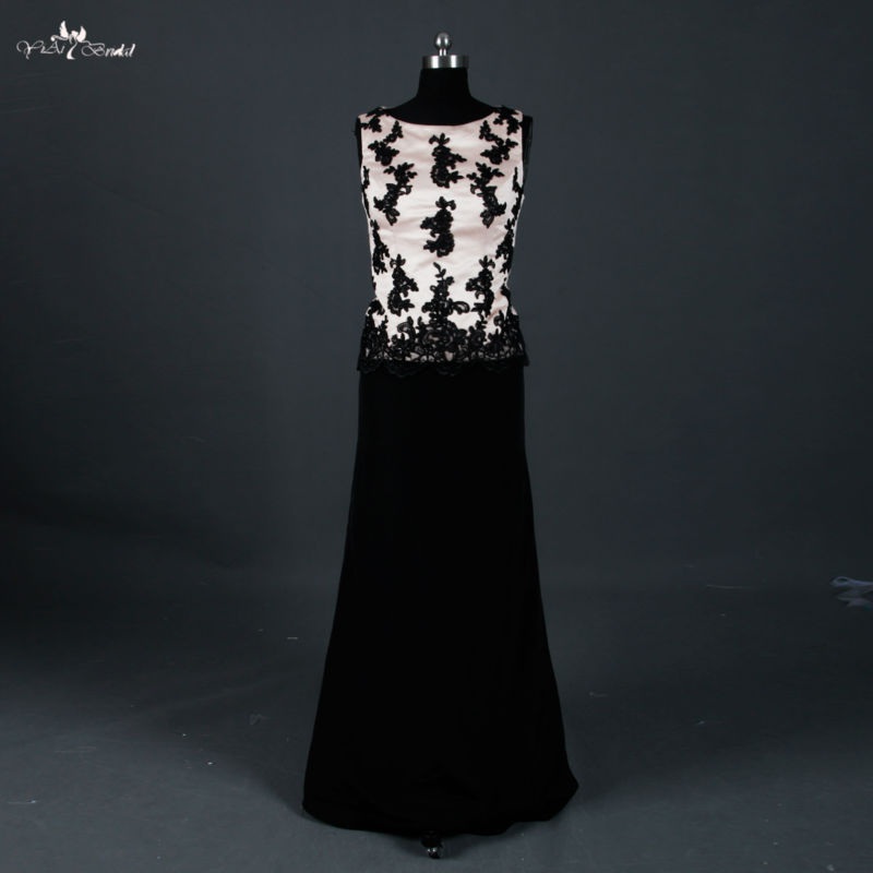 RSE670 Champagne et noir deux pièces mère de la mariée robes robe de soirée