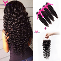 Unprocessed 4 Bundles with Closure 7A Indian Virgin Hair With Closure Indian Deep Wave closure Curly Weave Human Hair Extension