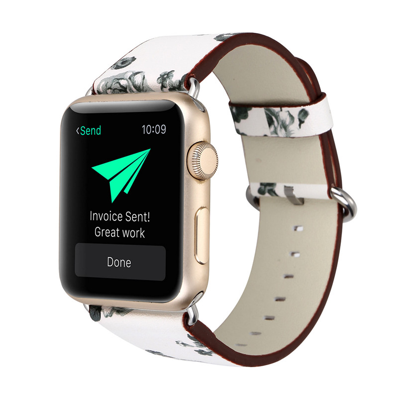 Applicable To For APPLE WATCH Apple Leather Strap Pastel Floral Series Leather Watch Strap For iwatch Wristband