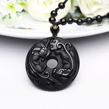 Natural Black Obsidian Zhao Cai PiXiu Pendant Necklace Lucky Amulet Brave Troops Necklace Wholesale Fine Jewelry Gift цена в Москве и Питере