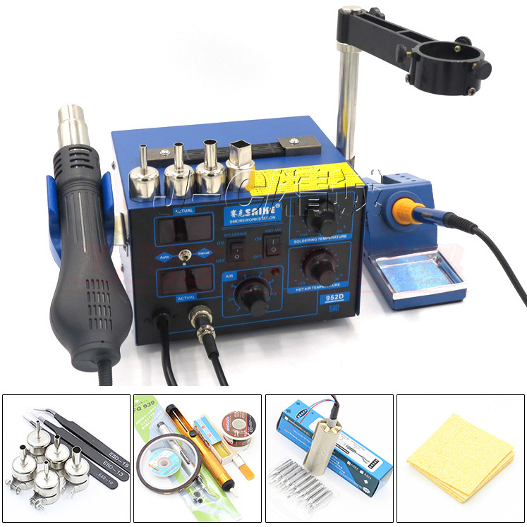 Saike 952D Soldering station 110V or 220V 700W 2 in 1 Hot Air Gun Soldering Iron Digital Welding Station+Many gift mig mag burner gas burner gas linternas wp 17 sr 17 tig welding torch complete 17feet 5meter soldering iron air cooled 150amp