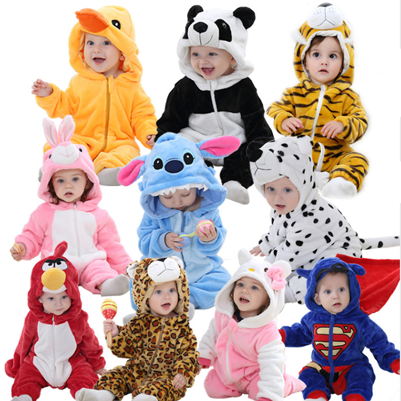 Cute Cartoon Flannel Baby Rompers Novelty Rabbit Cotton Baby Boys Girls Animal Rompers Stitch Baby's Sets kigurumi New born 2019(China)
