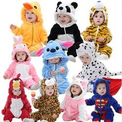 Bonito Dos Desenhos Animados Flanela Macacão Novidade Coelho de Algodão Do Bebê Das Meninas Dos Meninos Do Bebê Rompers Animais Conjuntos kigurumi Ponto do bebê Recém nascido 2019