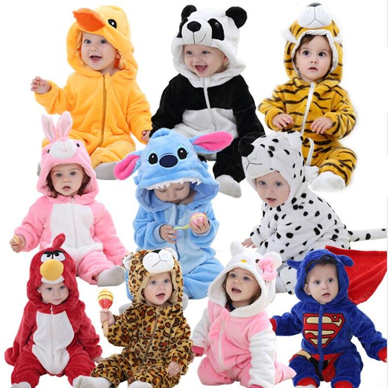 Nette Cartoon Flanell Baby Strampler Neuheit Kaninchen Baumwolle Baby Jungen Mädchen Tier Strampler Stich babys Sets kigurumi Neue geboren 2018