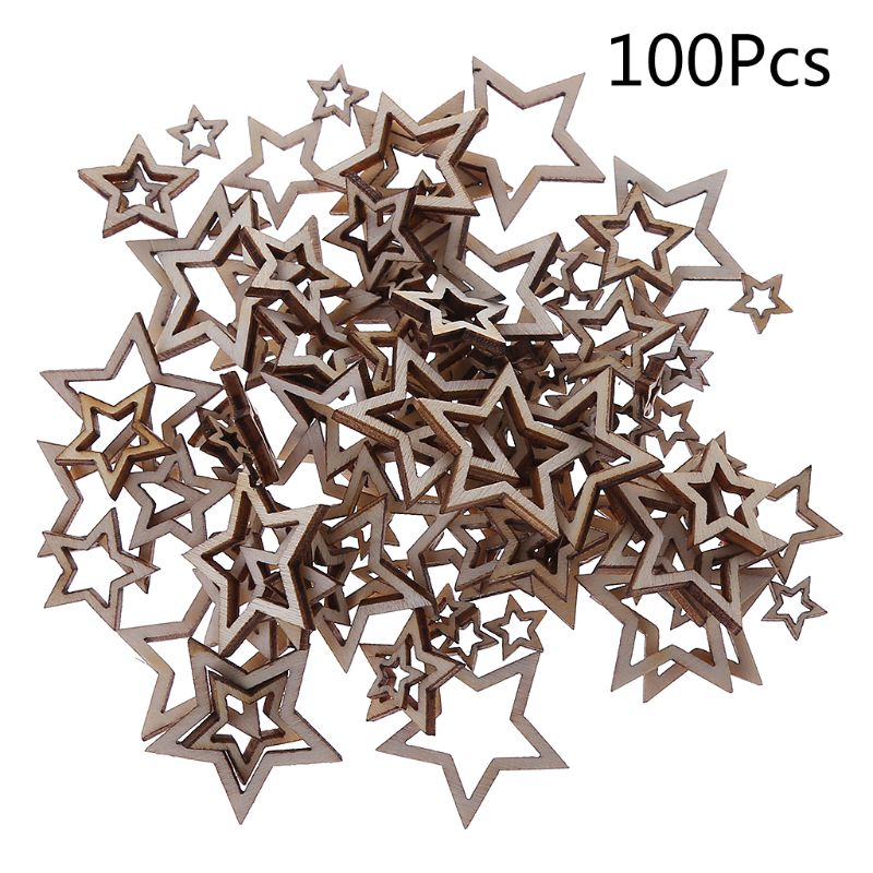 100Pcs/Bag Laser Cut Wood 1-3cm Mix Wooden Hollow Star Shape Craft Wedding Decor