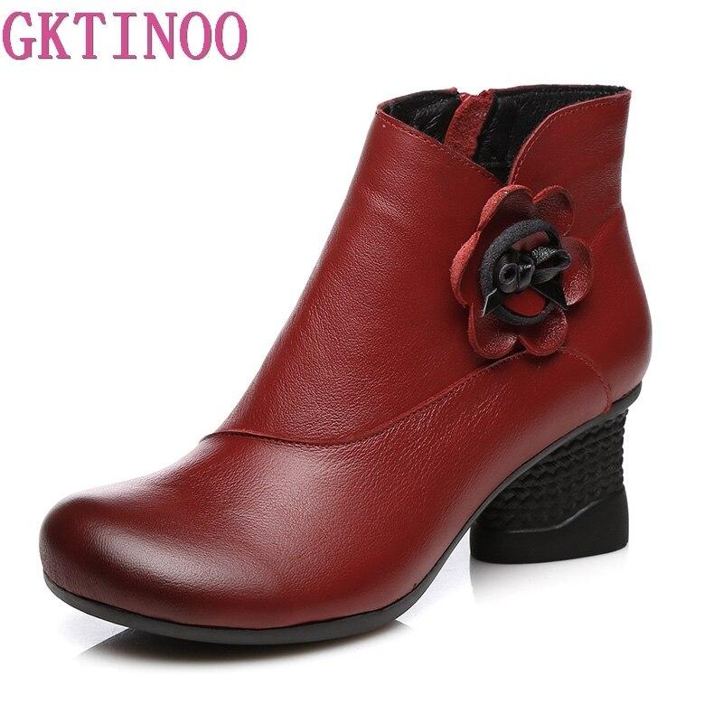 83ff1f10bf Couro Vaca Alto Retro vermelho Outono Handmade Mulheres Flor De Ankle  Sapatos Salto Genuíno Preto Boots Botas ...