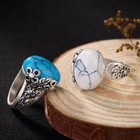 S990 prata fina flor folhas depois de restaurar antigas formas ms abertura em branco turquesa anel de prata esterlina grossista