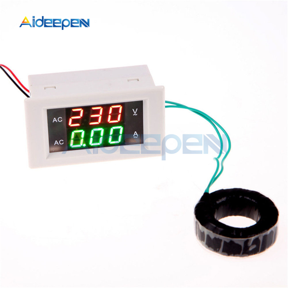 AC 100-300V Digital Voltmeter Ammeter LED Panel 110V 220V 200A Volt Amp Current Meter Red Green Dual Display