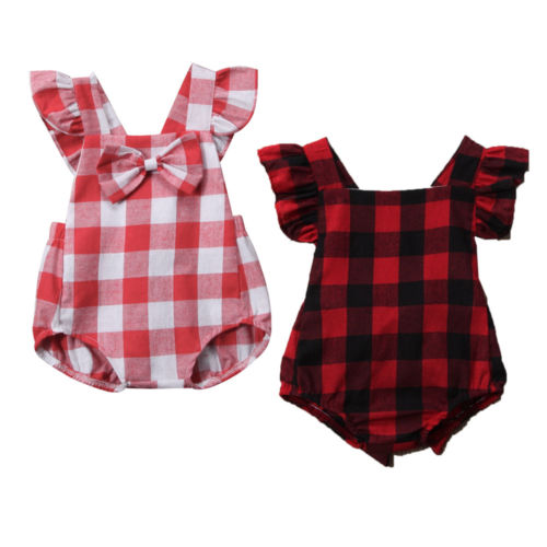 Sweet Toddler Baby Girls Sleeveless Ruffles   Romper   Plaid Back Cross Jumpsuit Clothes Outfits