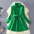 Vestido de outono Para As Mulheres Da Moda Blusa Sólida Vestido Com Cinto Feminino Mini Vestido de Manga Longa Camisas Vestidos L8314