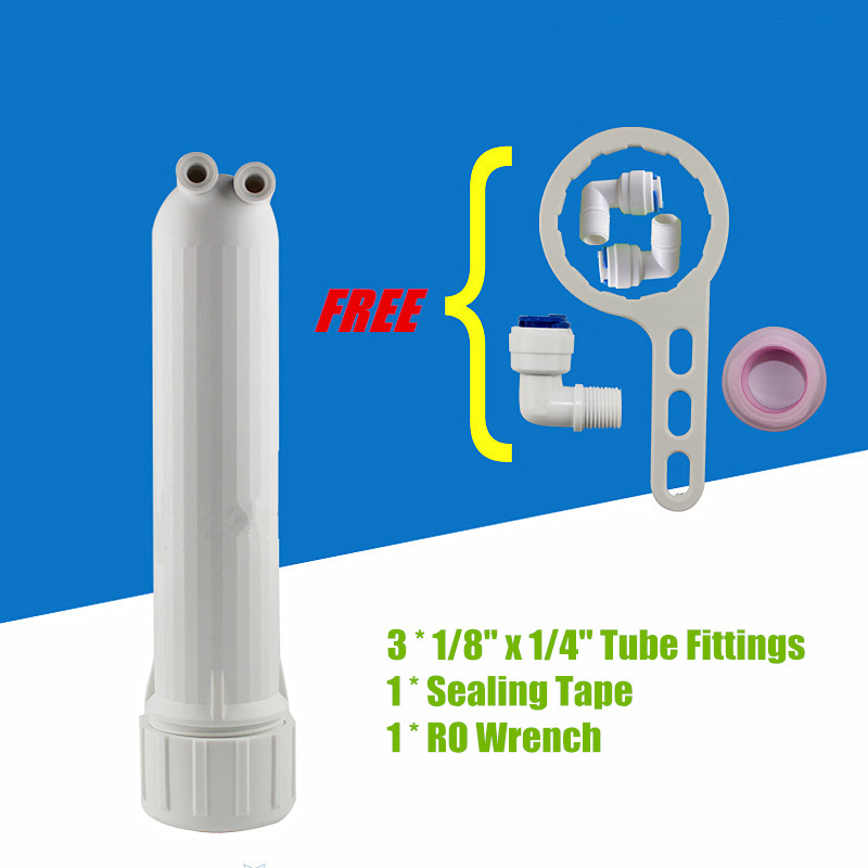 50/75GPD RO Membrane Shell Reverse Osmosis Water Filter Membrane Housing Standard Free 3 x Elbow Fittings with 1 x RO Wrench water filter 75g ro membrane and membrane housing with connector and wrench for reverse osmosis water purifier