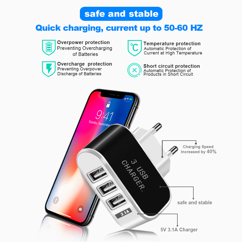 Essien USB Charger 5V 2A 3 Port USB Wall Power Adapter EU Charger Charging For iPhone Xiaomi Mi 9 Samsung Huawei Phone Charger in Mobile Phone Chargers from Cellphones Telecommunications