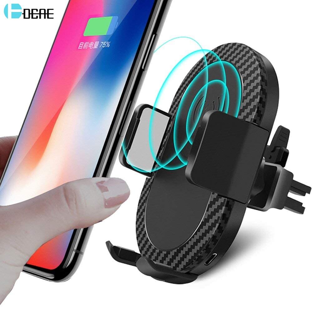 DCAE Автомобиль Air Vent быстро Qi Беспроводное зарядное устройство для iPhone X 8 плюс Samsung Note 8 S9 S8 S7 беспроводной зарядки Автомобильный держатель тел…