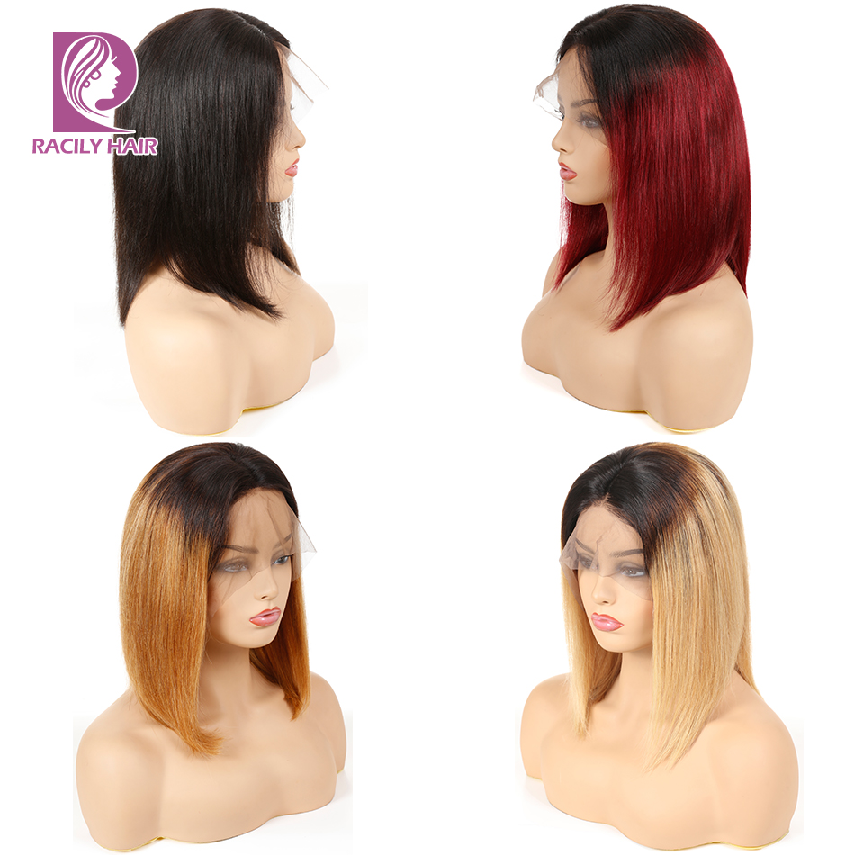Racily Hair 13x4 Ombre Blonde Lace Front Wig Straight Remy Human Hair Bob Wig Red Peruvian Hair Wigs Shot Bob Lace Front Wigs